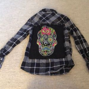Butter plaid button down with skull on back